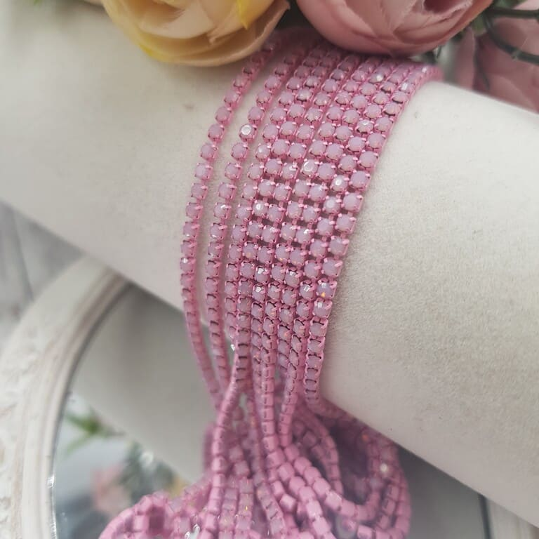 Same color cup chain, Pink Opal ss6, СС76