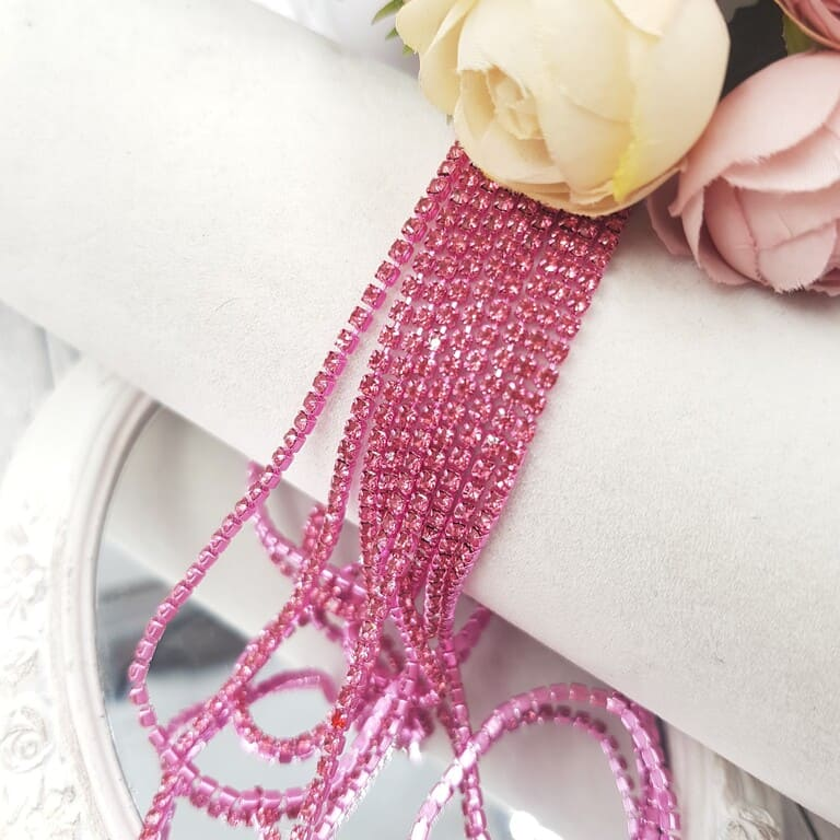 Same color cup chain, Pink ss6, СС79