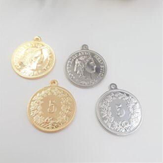 Brass-Pendants-Coin-5-Rhoudium-Gold-P013-P014