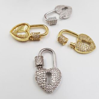 Brass-Pendants-Lock-Heart-Gold-Rhoudium-P035-P036