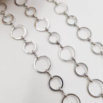 Chain Round Rings Rhodium Plating 0.8-1 cm AC02