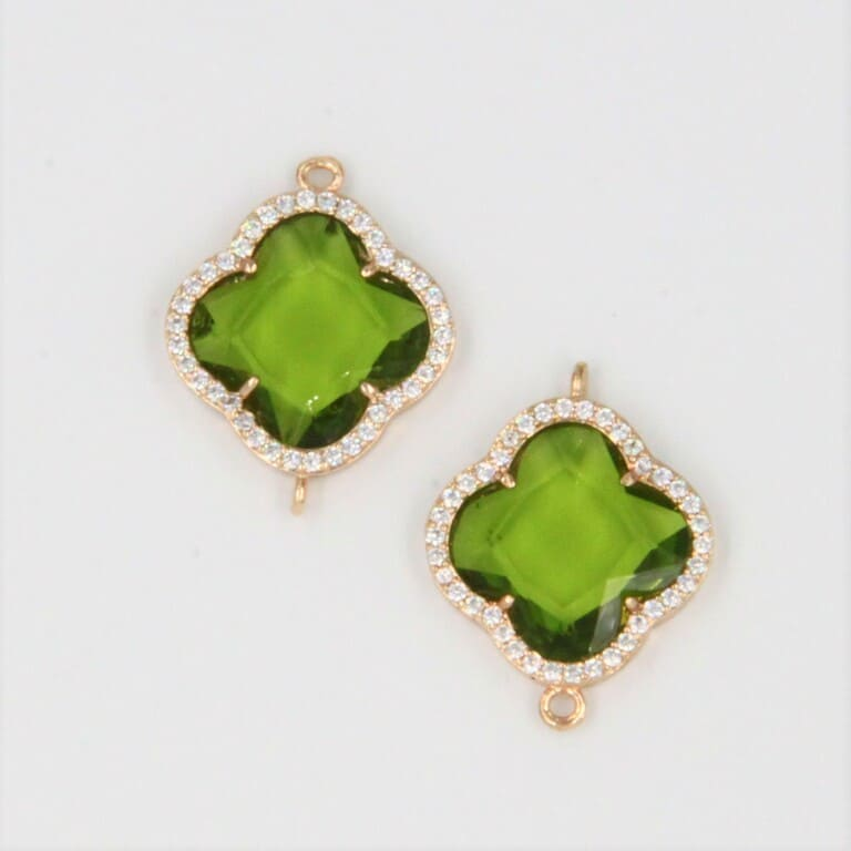 Connector 4 Petals Clever, Green glass, Gold plated rimm with Rhinestones CON02