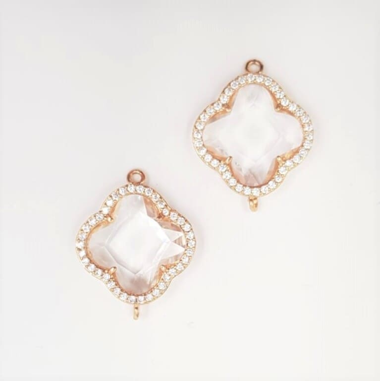 Connector 4 Petals Clever, Transparent glass, Gold plated rimm with Rhinestones CON01