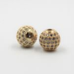 Spacer Charm for Jewelry Making: Round, Rhinestones Decorated, Silver/Gold, 10 mm