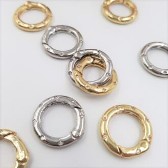 Necklace Clasp Round Spring Gate Ring Lock Finding Gold, Rhodium NC01