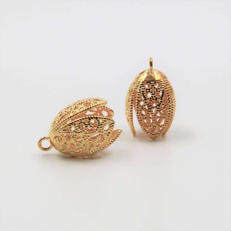 Tassel Caps, Pendant Caps, 15mm, Gold Plating TC001G