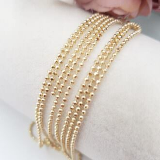 Faceted Ball Chain Bead Chain Gold Color, 1.5 mm BC017