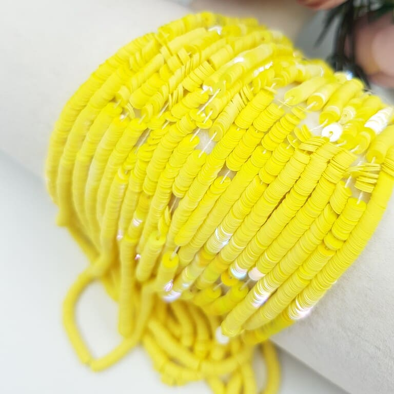 French Flat Sequins Paillettes Oriental Yellow (#5056) Sequins, 3 mm, Langlois-Martin