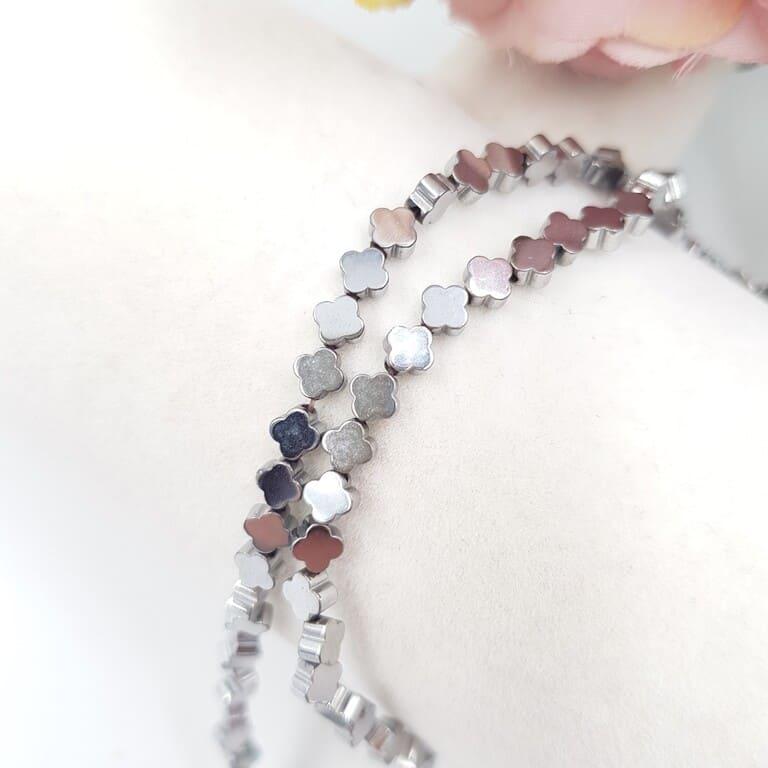 Hematite Beads 4 Petals, Silver Color, 4 mm H001