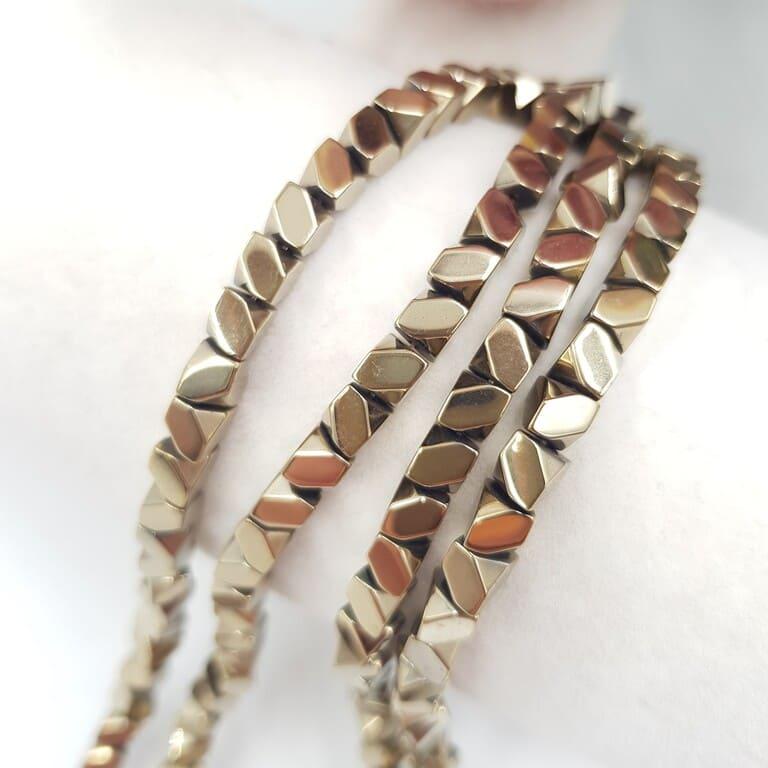 Hematite Beads Irregular SquareTriangle, Gold, 4 mm H005