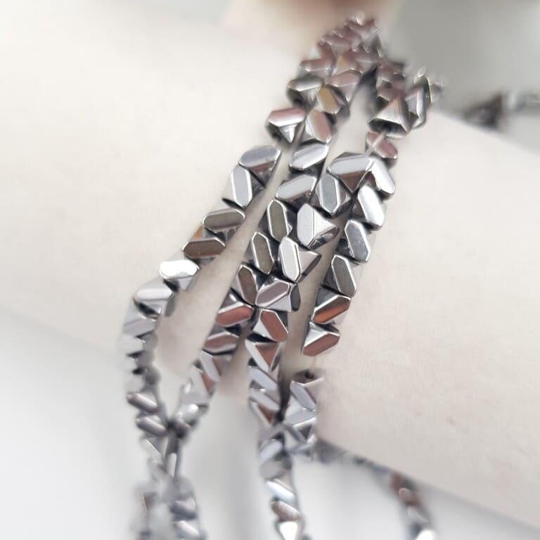 Hematite Beads Irregular SquareTriangle, Silver, 4 mm H006