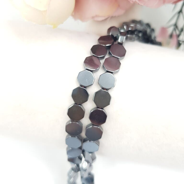 Hematite Beads Octagon, Hematite Color, 6 mm H002 (2)