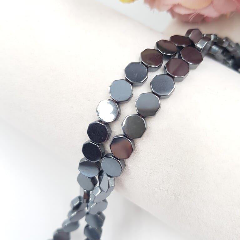Hematite Beads Octagon, Hematite Color, 6 mm H002