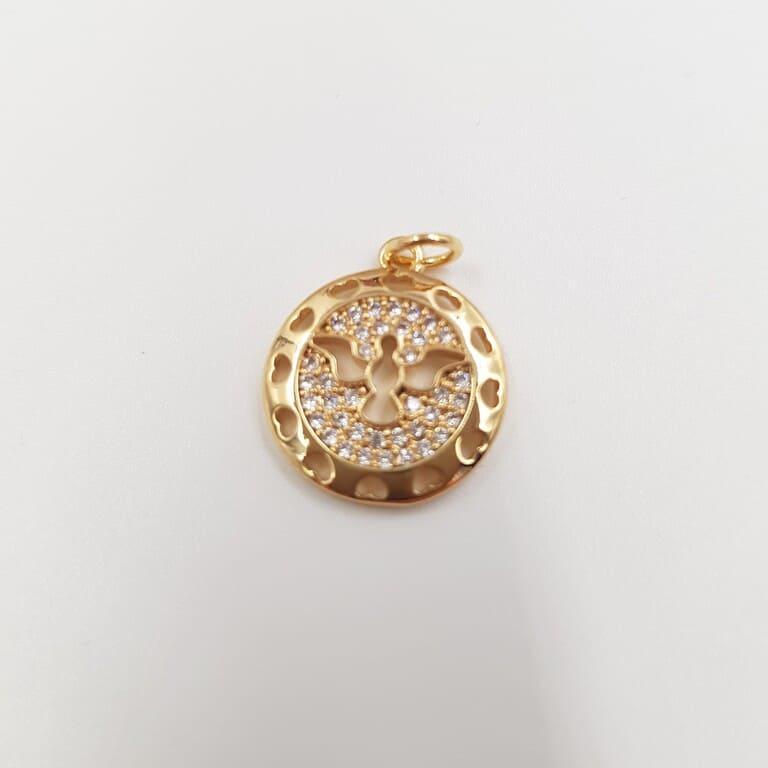 "Round Pendant ""Dove"" SilverGold, Rhinestones Decorated, 1.5 cm"