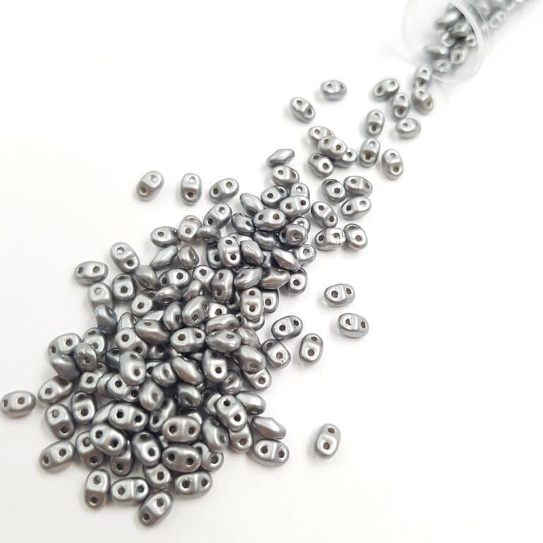 PB307-0204-25028AL MiniDuo 4 x 2.5mm (loose) Pearl Coat - Silver