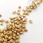 Бусины Matubo MiniDuo Beads, Лён, матовый металлик, 4х2.5мм, PB307-0204-K0171