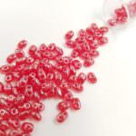 Бусины Matubo MiniDuo, Сиамский рубин, блестящий, 4х2.5мм, PB307-0204-L90080